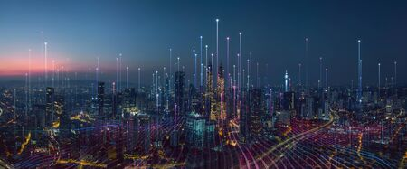 Foto de Smart city and abstract dot point connect with gradient line and aesthetic Intricate wave line design , big data connection technology concept . - Imagen libre de derechos