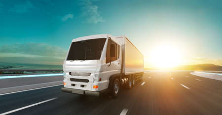 Foto de Delivery truck run on the road with sunrise landscape, fast delivery, cargo logistic and freight shipping concept. 3d rendering. - Imagen libre de derechos