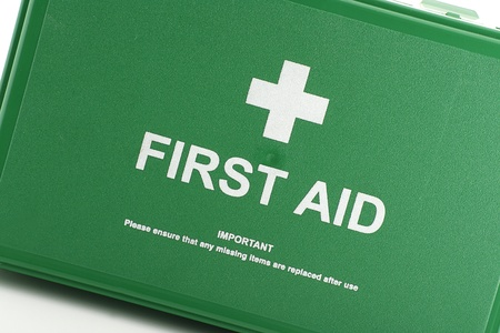 front view of green first aid box