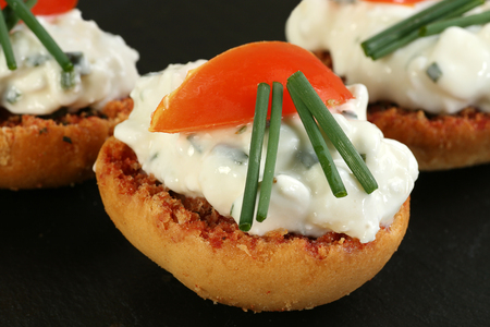 toasted buschetta slices with cottage cheese tomato and chives