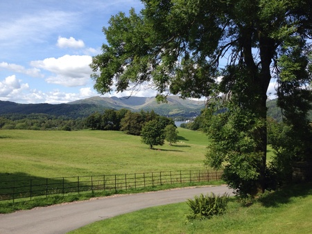 The view from Wray Castle on Windermere in the Lake District