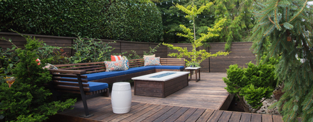Photo pour Panorama of a contemporary outdoor conversation inspired by oriental design. - image libre de droit