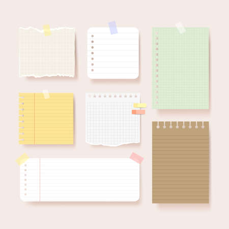 Illustration for Scrapbook papers. Blank notepad pages vector illustration.Paper glued to wall with tape - Royalty Free Image