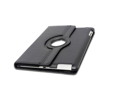 Photo pour Black leather tablet computer case on a white background - image libre de droit
