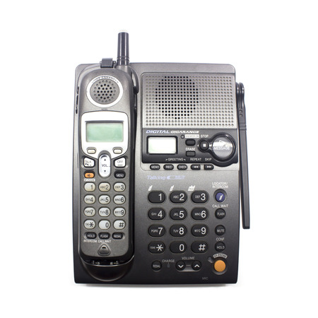 cordless phone set closeup with white background