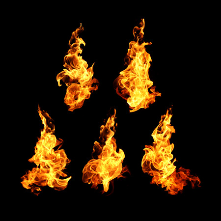 Photo for Fire flames collection isolated on black background - Royalty Free Image