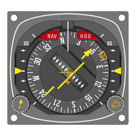 Aircraft gauge - horizontal situation indicator - Navigation instrument from dashboard isolated on white background. (raster, sRGB)