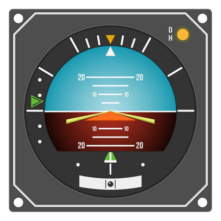 Aircraft gauge - Flight Director Indicator - Navigation instrument from dashboard isolated on white background. (raster, sRGB)