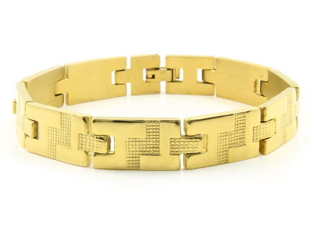 Photo pour Jewel Gold Bracelet. Stainless steel. One color background - image libre de droit