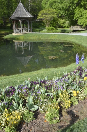 gazbo on a pond