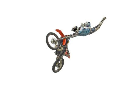 Motocross rider performing dangerous jumps with his bike isolated on white.