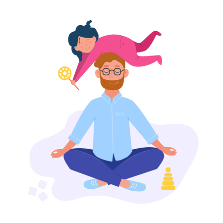 Illustration pour Man doing yoga and meditating visiting in a lotus pose with a cute naughty daughter on his head. Daddy and daughter. Illustration in vector - image libre de droit