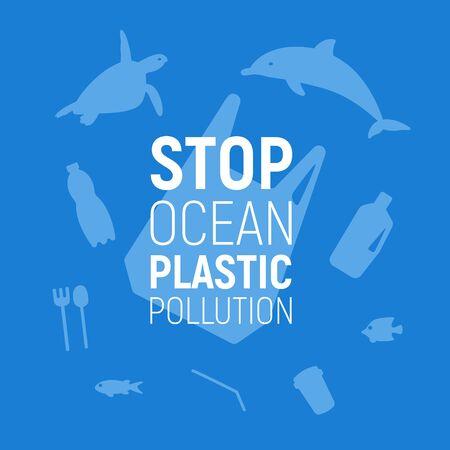 Illustration pour Ocean Plastic Pollution. Underwater background with plastic bag, rubbish, dolphin and turtle. Save the ocean concept. Eco problem poster. Vector illustration. - image libre de droit