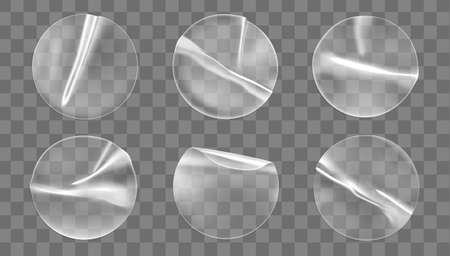 Illustration pour Transparent round adhesive stickers mock up set isolated on transparent background. Plastic crumpled round sticky label with glued effect. Template a label or price tags. 3d realistic vector mockup. - image libre de droit