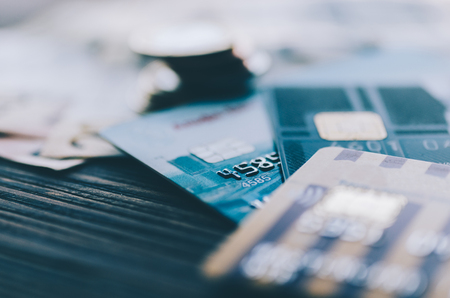 Photo for Credit card, coins and money on the table - Royalty Free Image