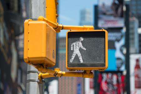 Photo for Pedestrian traffic walk light on New York City street - Royalty Free Image