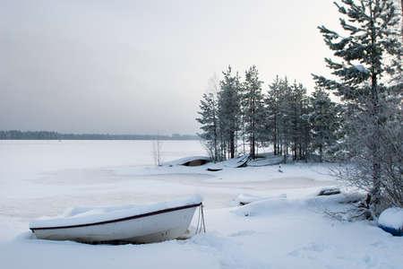 Frozen winter lake landscape
