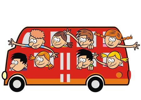 Illustration pour Bus and funny kids. Children traveling. - image libre de droit