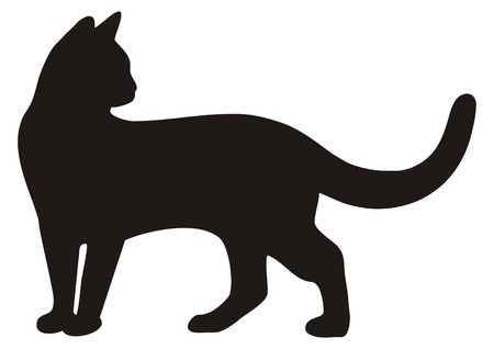 Illustration for black cat, icon silhouette - Royalty Free Image