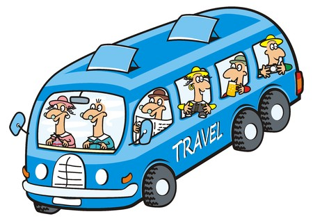 Illustration for Bus and seniors icon. Funny illustration. - Royalty Free Image