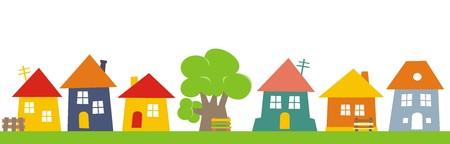 Town, group of houses. Vector icon. Colored silhouette of houses with banch and tree.