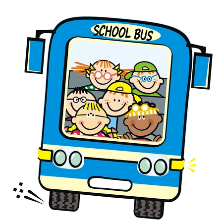 Illustration for Blue bus and kids, school bus with boys and girls. Vector humorous illustration. Children on the trip. Isolated coach bus. - Royalty Free Image