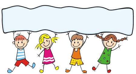 Illustration for Happy kids and banner, vector illustration, color illustration, place for text - Royalty Free Image