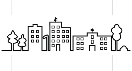 Illustration for cityscape, black silhouette of town, vector icon - Royalty Free Image