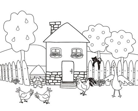 Illustration pour House and garden with farm animals, coloring book, vector illustration - image libre de droit