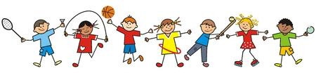 Illustration pour Happy kids and sports equipment, funny vector illustration - image libre de droit