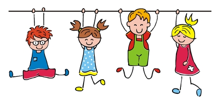 Illustration for Happy kids, hanging girls and boys, funny vector illustration - Royalty Free Image