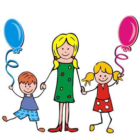 Illustration pour Mother, boy and girl with balloons, vector illustration - image libre de droit
