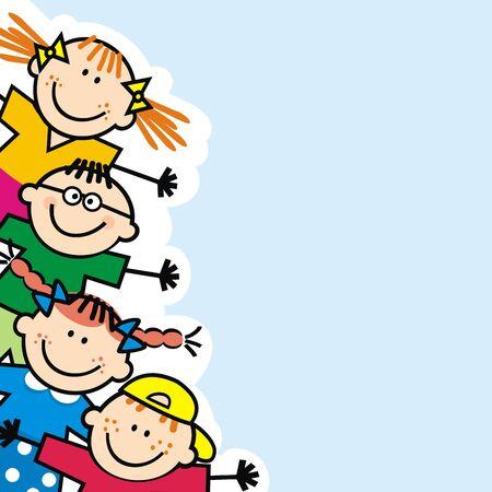 Illustration pour Happy little kids banner, blue background, funny vector illustration - image libre de droit