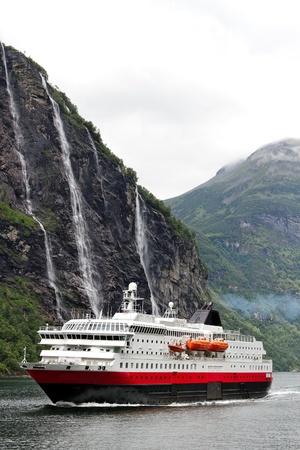 Ship in norwegian fjord.