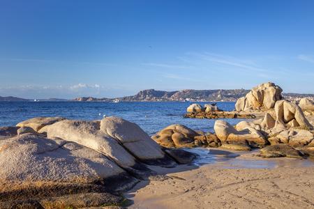 Photo pour Stones in Mediterranean sea next to Palau, Sardinia, Italy. - image libre de droit