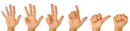 Photo pour Count down with hand fingers - image libre de droit