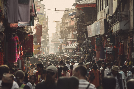 Asian street life. One of the crowded streets in Kathmandu, Nepal.