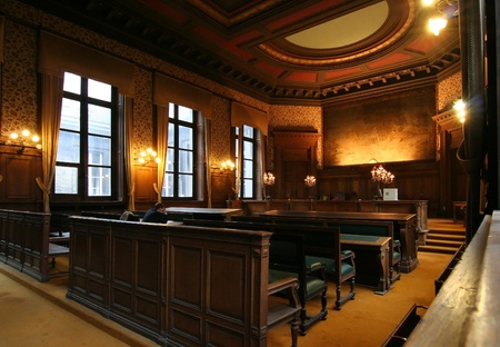 Court room in the Palace of Justice in Brussels, with a lawyer preparing his case. Picture taken on October 27, 2006 in Brussels, Belgium
