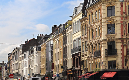 Historical buildings in the main shopping street of Lille, France