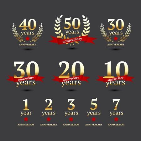 Set of anniversary golden signs, illustration