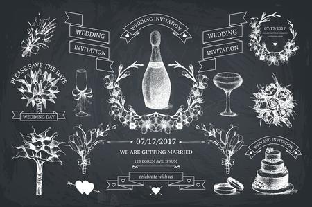 Photo pour Vector set of decorative design elements for wedding. - image libre de droit