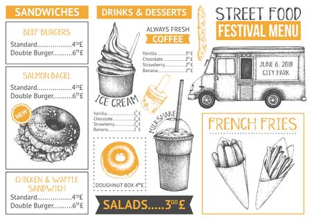 Illustration pour Food truck menu design on white backgorund. Fast food Restaurant flyer. Vector cafe template with hand drawn graphic - burgers, drinks, desserts. - image libre de droit