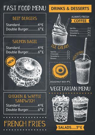Illustration pour Fast food restaurant or cafe menu template. Hand drawn burgers, desserts and drinks illustrations. Food truck flyer design on chalkboard. - image libre de droit