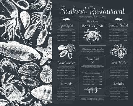 Illustration pour Decorative Seafood restaurant menu or flyer design. Vector menu template on chalkboard. Hand drawn fish illustration. - image libre de droit