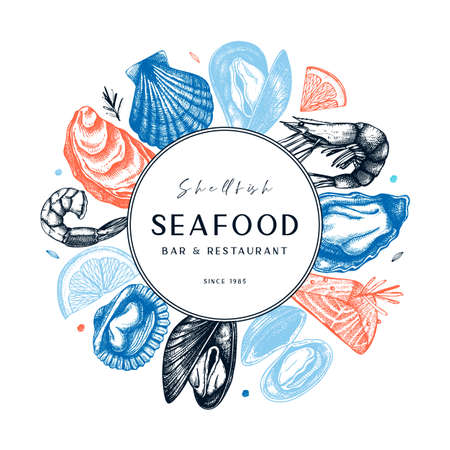 Illustration for Vector frame with hand drawn seafood illustration - fresh fish, oyster, mussel, shrimps and spice. Decorative card or flyer design with sea food sketch. Vintage menu template. - Royalty Free Image
