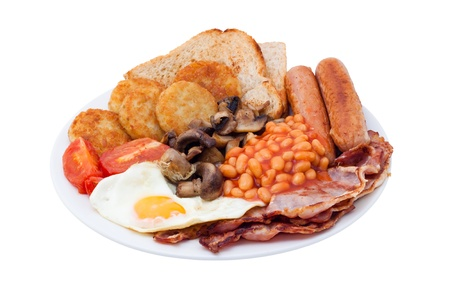 Traditional English Breakfast. Image is isolated on white background, contains clipping path.