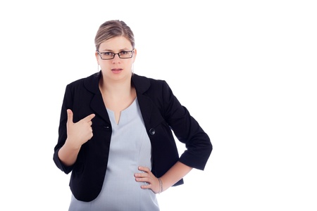 Angry offended young business woman, isolated on white background.