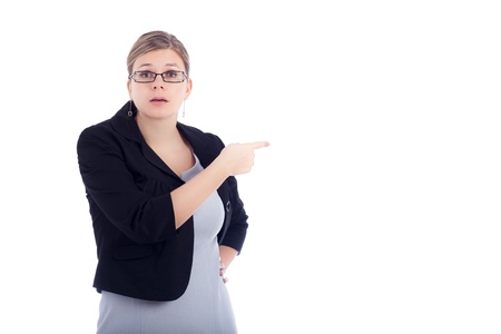 Angry young business woman blaming, isolated on white background.