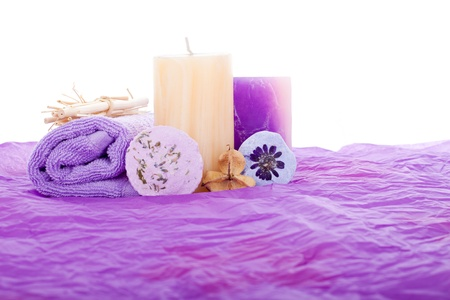 Photo pour Purple Spa set, isolated on white background. - image libre de droit