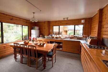 Lodge breakfast room interior. Fox Glacier Lodge, Fox Glacier, West Coast, South Island, New Zealand.